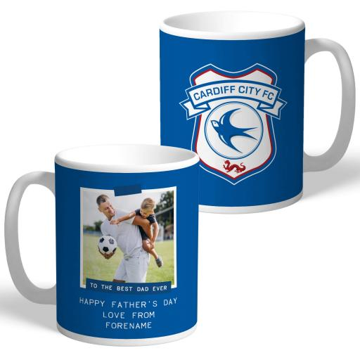 Cardiff City FC Best Dad Ever Photo Upload Mug