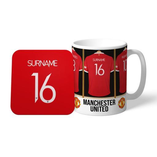 Manchester United FC Dressing Room Mug & Coaster Set