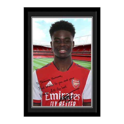 Arsenal FC Saka Autograph Photo Framed