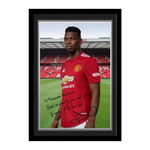 Manchester United FC Pogba Autograph Photo Framed