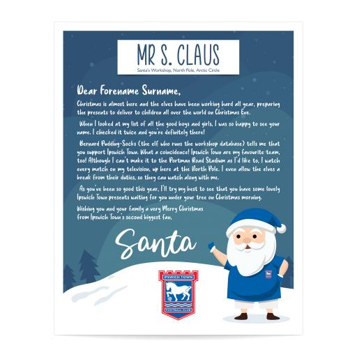 Ipswich Town FC Personalised Letter from Santa