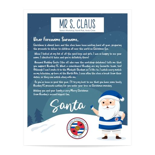 Reading FC Personalised Letter from Santa