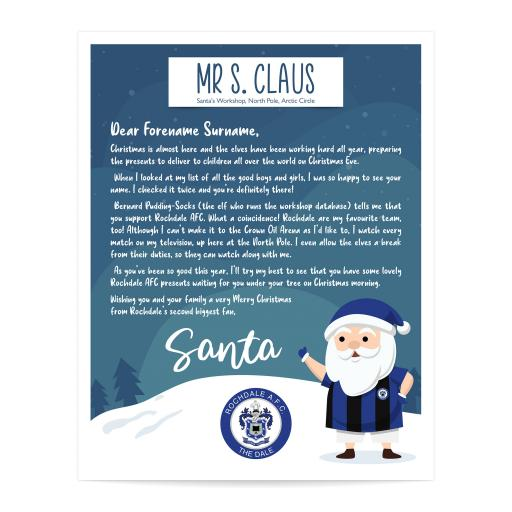 Rochdale AFC Personalised Letter from Santa