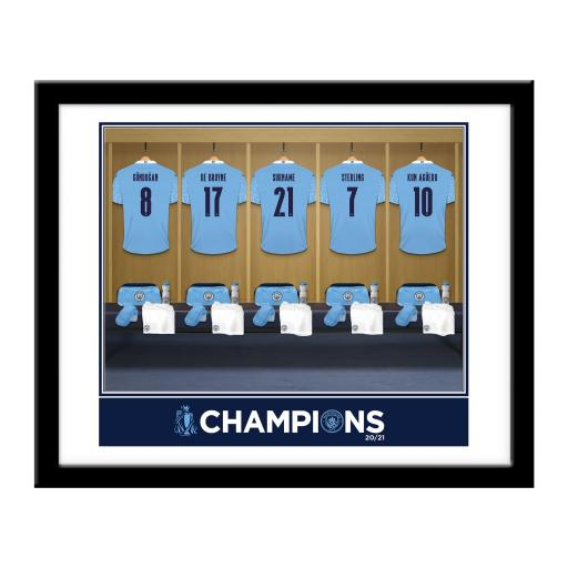 Manchester City FC Premier League Champions 2021 Dressing Room Framed Print