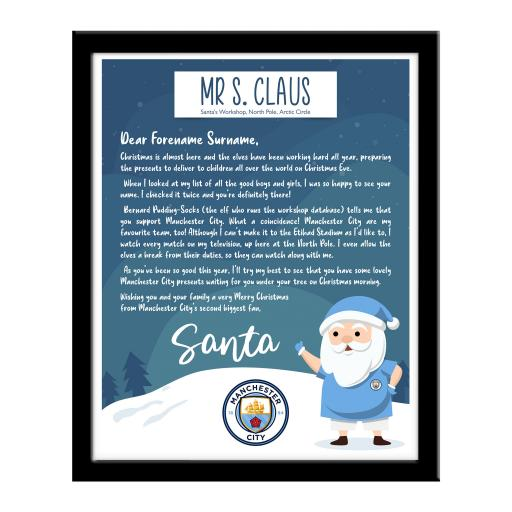 Manchester City FC Letter from Santa Framed