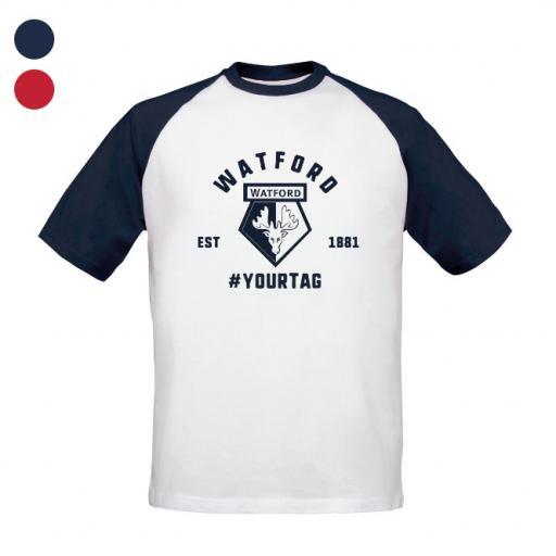 Watford FC Vintage Hashtag Baseball T-Shirt