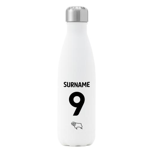 Derby County Back of Shirt Insulated Water Bottle - White