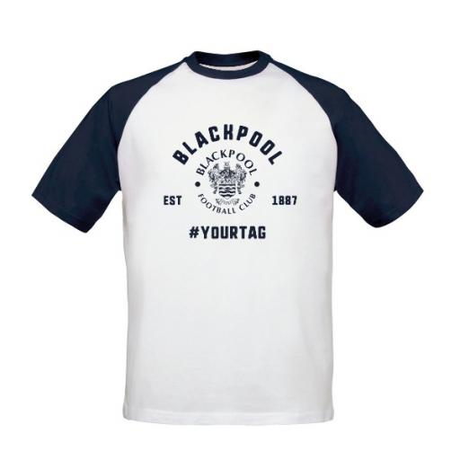 Blackpool FC Vintage Hashtag Baseball T-Shirt