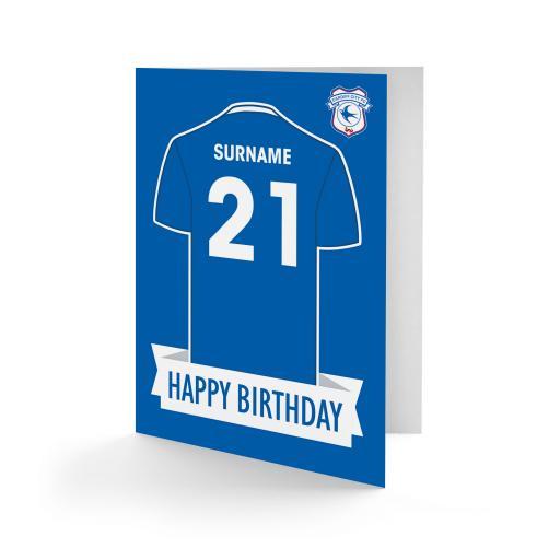 Cardiff City FC Shirt Birthday Card