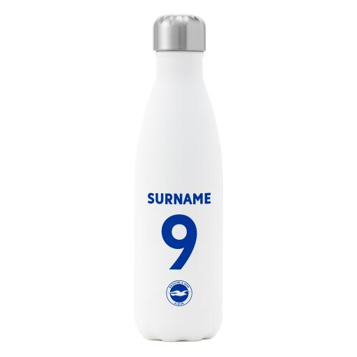 Brighton & Hove Albion FC Back of Shirt Insulated Water Bottle - White