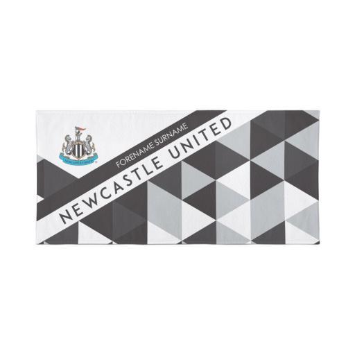 Newcastle United Personalised Towel - Geometric Design - 70 x 140