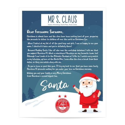 Aberdeen FC Personalised Letter from Santa