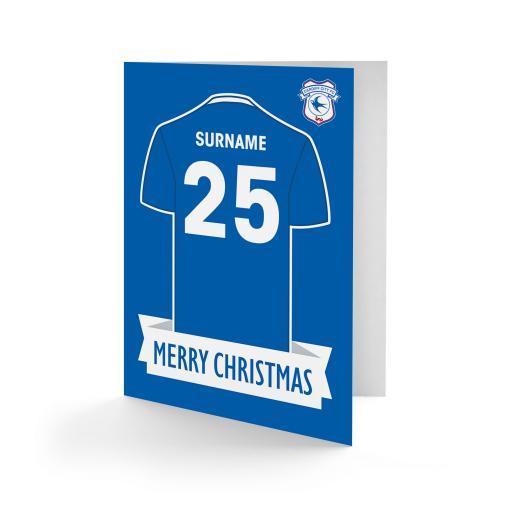 Cardiff City FC Shirt Christmas Card