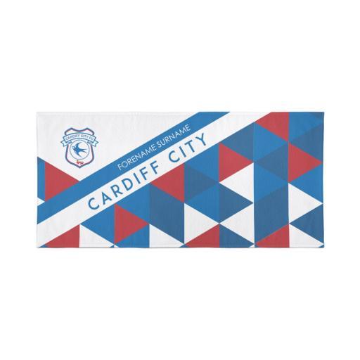 Cardiff City Personalised Towel - Geometric Design - 70 x 140