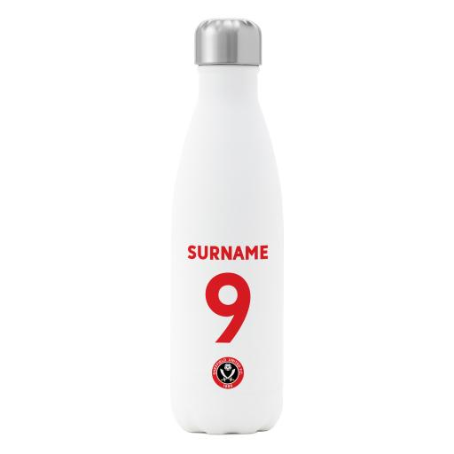 Sheffield United FC Back of Shirt Insulated Water Bottle - White