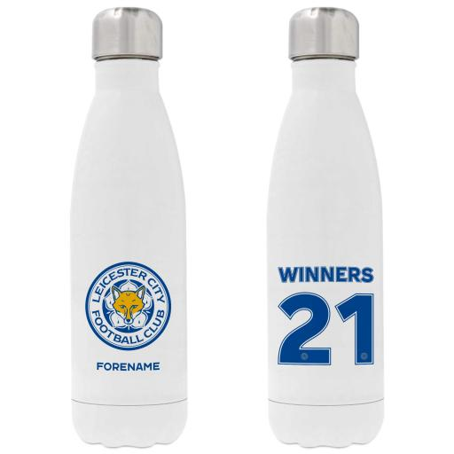 Personalised Leicester City FC Winners 2021 Back of Shirt Insulated Water Bottle - White