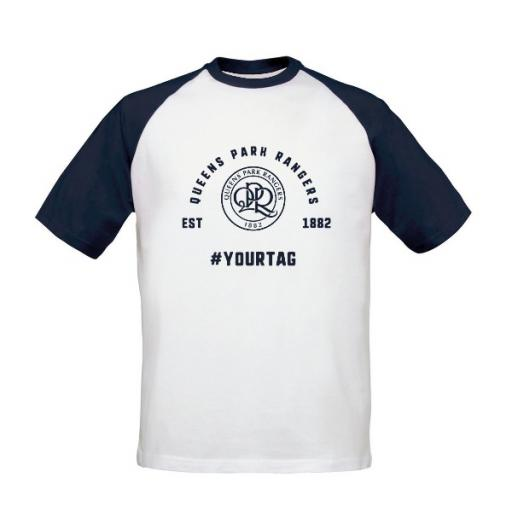 Queens Park Rangers FC Vintage Hashtag Baseball T-Shirt
