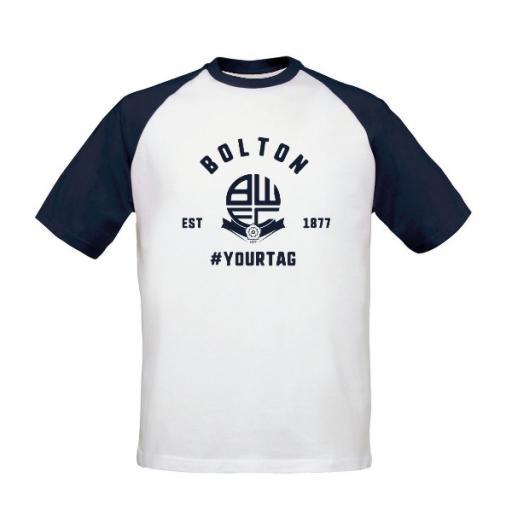 Bolton Wanderers FC Vintage Hashtag Baseball T-Shirt