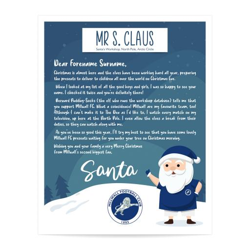 Millwall FC Personalised Letter from Santa