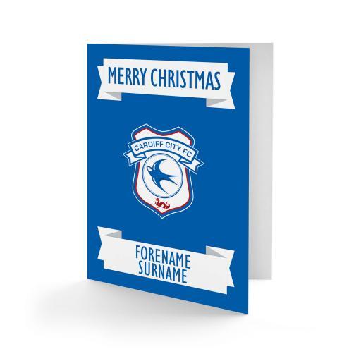 Cardiff City FC Crest Christmas Card