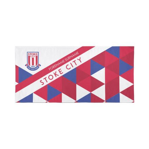 Stoke City Personalised Towel - Geometric Design - 70 x 140