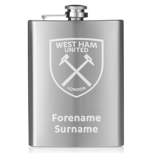 West Ham United FC Crest Hip Flask