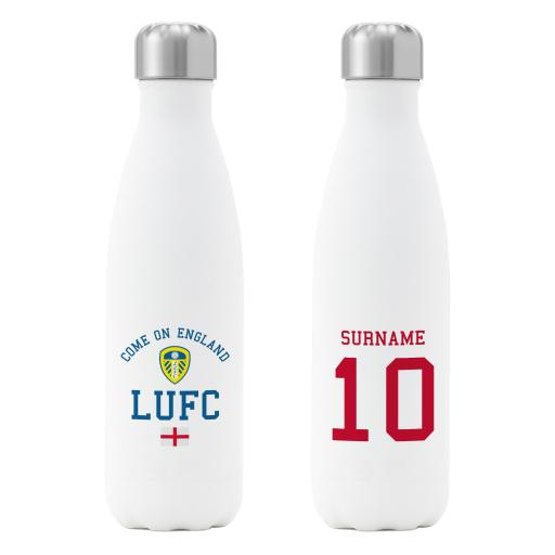Leeds United FC Come On England Insulated Water Bottle - White