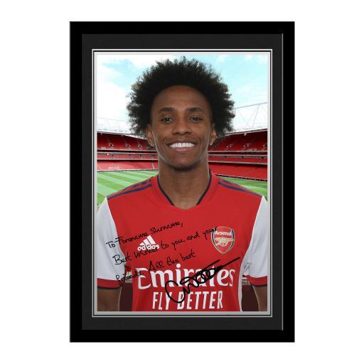 Arsenal FC Willian Autograph Photo Framed
