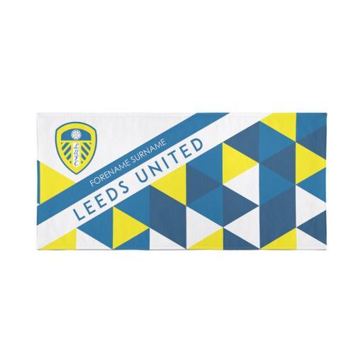 Leeds United Personalised Towel - Geometric Design - 80 x 160