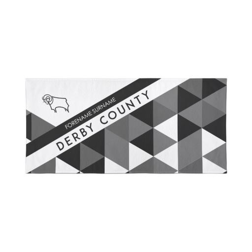 Derby County Personalised Towel - Geometric Design - 80 x 160