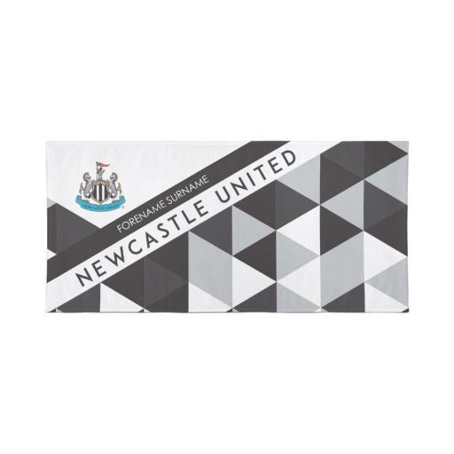 Newcastle United Personalised Towel - Geometric Design - 80 x 160