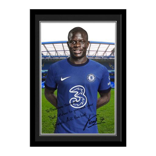 Chelsea FC Kante Autograph Photo Framed