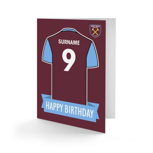 West Ham United FC Shirt Birthday Card