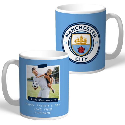 Manchester City FC Best Dad Ever Photo Upload Mug