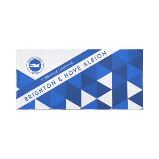 Brighton & Hove Albion Personalised Towel - Geometric Design - 80 x 160