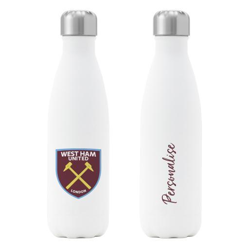West Ham United FC Crest Insulated Water Bottle - White