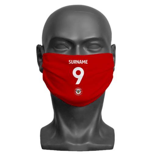 Brentford FC Back of Shirt Adult Face Mask (Large)