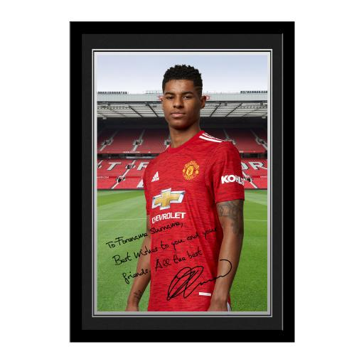 Manchester United FC Rashford Autograph Photo Framed