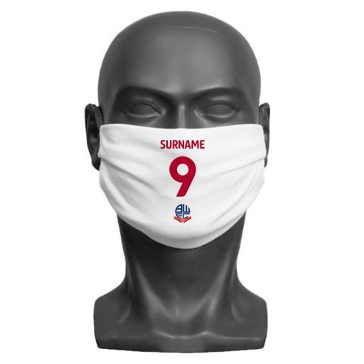 Bolton Wanderers FC Back of Shirt Adult Face Mask (Medium)