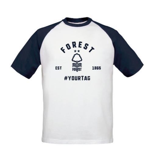 Nottingham Forest FC Vintage Hashtag Baseball T-Shirt