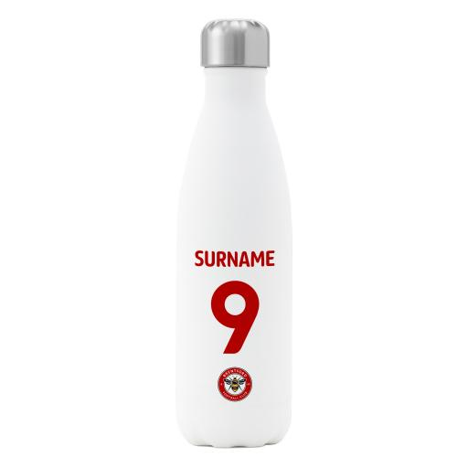 Brentford FC Back of Shirt Insulated Water Bottle - White