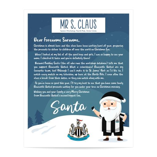 Newcastle United FC Personalised Letter from Santa