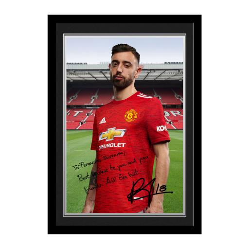 Manchester United FC Fernandes Autograph Photo Framed