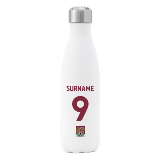Northampton Town FC Back of Shirt Insulated Water Bottle - White
