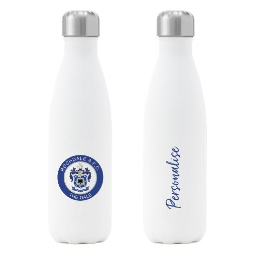 Rochdale AFC Crest Insulated Water Bottle - White