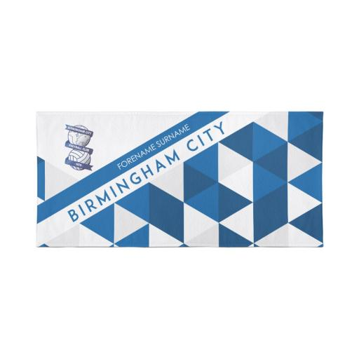 Birmingham City Personalised Towel - Geometric Design - 80 x 160