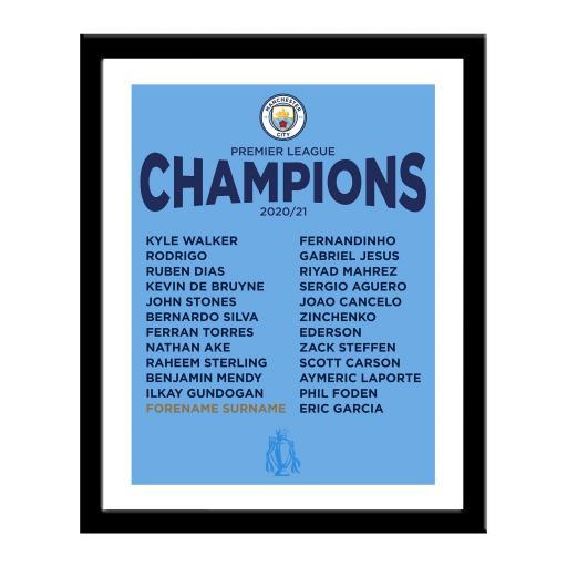 Manchester City FC Premier League Champions 2021 Framed Print