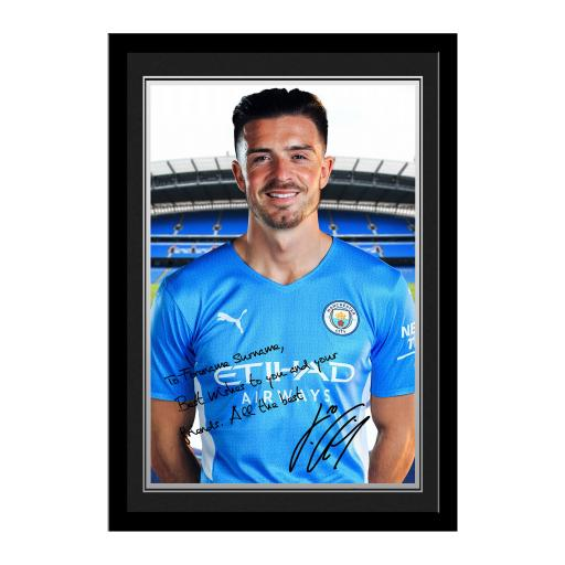 Manchester City FC Grealish Autograph Photo Framed