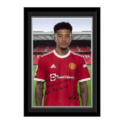 Manchester United FC Sancho Autograph Photo Framed